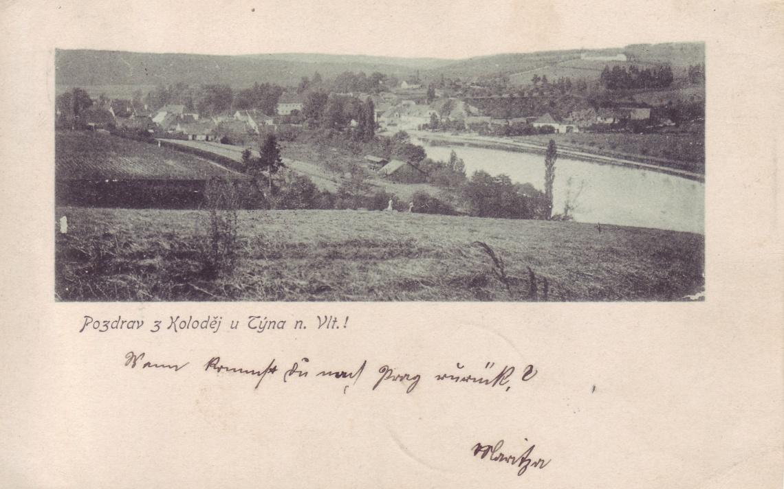 Gruß aus Kolodeje.  Wann kommst du nach Prag zurück? 1899. Karte ging an Mitzi Elleder, Willomitz.